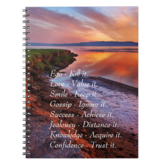Ego Kill it Love value it Smile Keep it quote Spiral Notebook