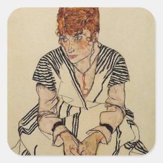 Egon Schiele- Artist's Sister in Law Square Sticker