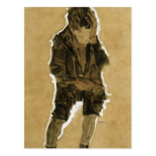 Egon Schiele- Boy with Hand to Face Postcards