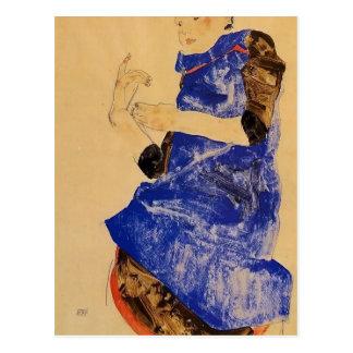 Egon Schiele- Girl in a Blue Apron Postcard