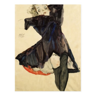 Egon Schiele- Girl in Blue Dress Postcard
