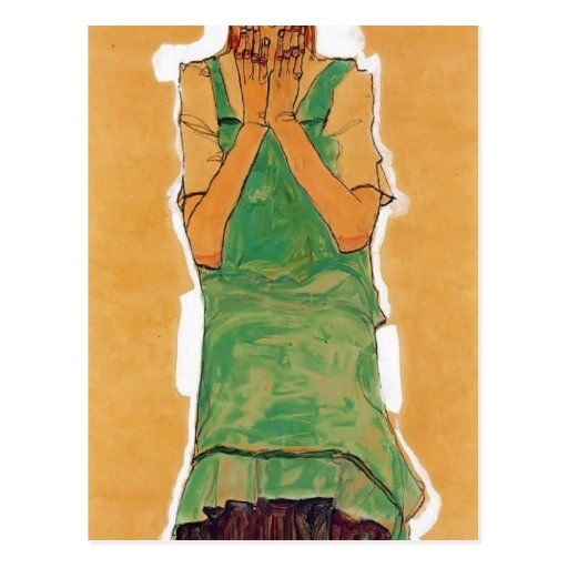 Egon Schiele- Girl with Green Pinafore Post Cards