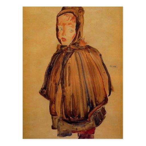 Egon Schiele- Girl with Hood Postcards
