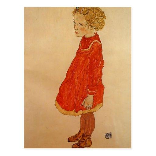 Egon Schiele- Little Girl with Blond Hair Postcards