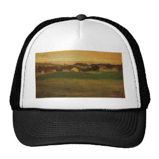 Egon Schiele- Meadow with Village in Background Hats