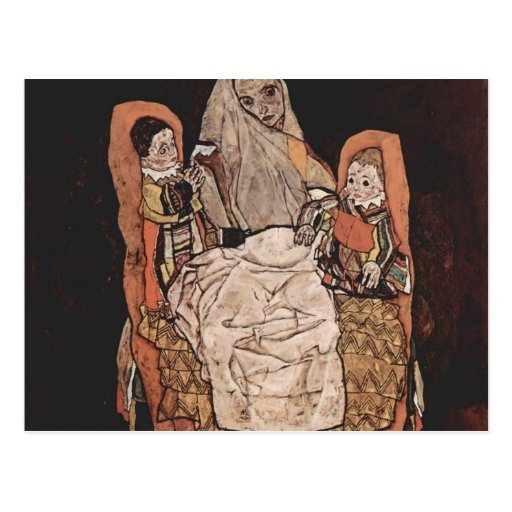 Egon Schiele- Mother with Two Children Postcards