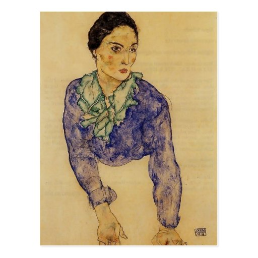Egon Schiele- Portrait of a Woman with Scarf Post Cards