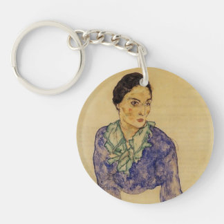 Egon Schiele- Portrait of a Woman with Scarf Single-Sided Round Acrylic Key Ring