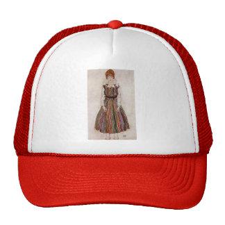 Egon Schiele- Portrait of Edith Schiele Mesh Hats