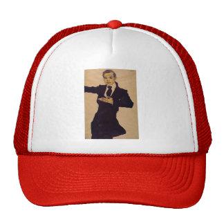 Egon Schiele- Portrait of Painter Max Oppenheimer Mesh Hats
