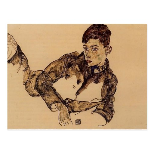 Egon Schiele- Reclining Boy Leaning on His Elbow Post Cards