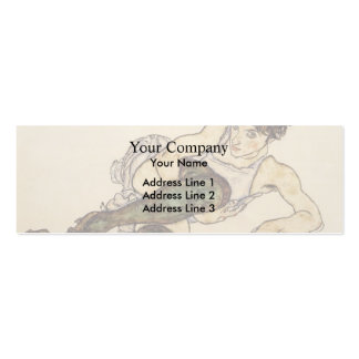 Egon Schiele- Reclining Woman with Green Stockings Business Card Templates