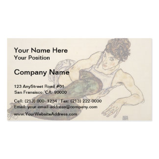 Egon Schiele- Reclining Woman with Green Stockings Business Cards