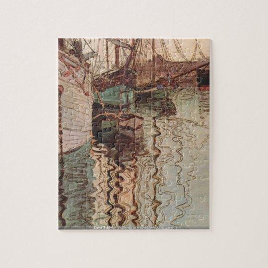 Egon Schiele - Sailboats in wellenbewegtem water Jigsaw
