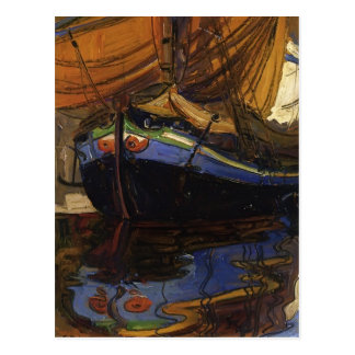 Egon Schiele-Sailing Boat with Reflection in Water Postcard