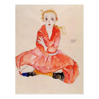 Egon Schiele- Seated Girl Facing Front Post Cards