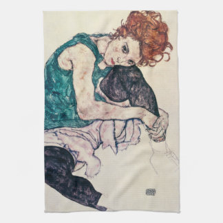 Egon Schiele Seated Woman Kitchen Towel