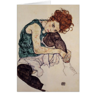 Egon Schiele- Seated Woman with Bent Knee Card