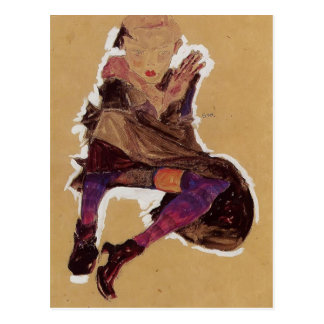 Egon Schiele- Seated Young Girl Post Card