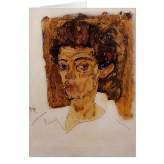 Egon Schiele- Self Portrait with Brown Background Greeting Card