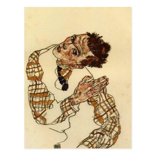 Egon Schiele- Self Portrait with Chequered Shirt Postcard