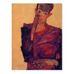 Egon Schiele- Self Portrait with Hand to Cheek Postcard