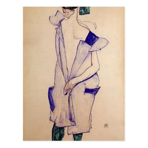 Egon Schiele- Standing Girl in a Blue and Green Postcard