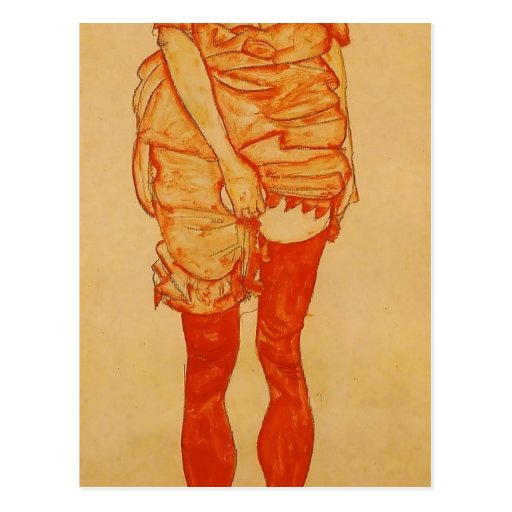 Egon Schiele- Standing Woman in Red Post Card