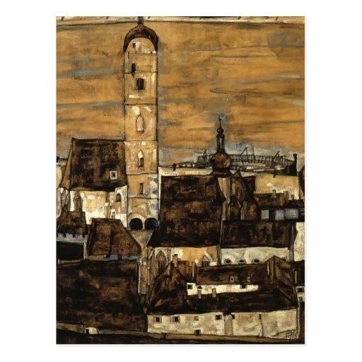 Egon Schiele- Stein on the Danube,from Kreuzberg Post Card