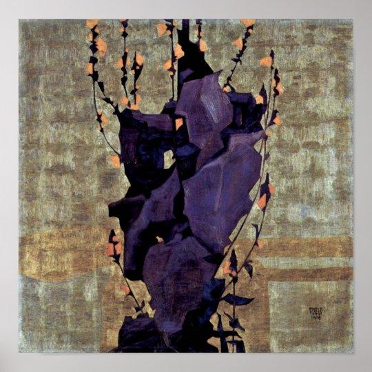 Egon Schiele - Stylised flowers still life Poster