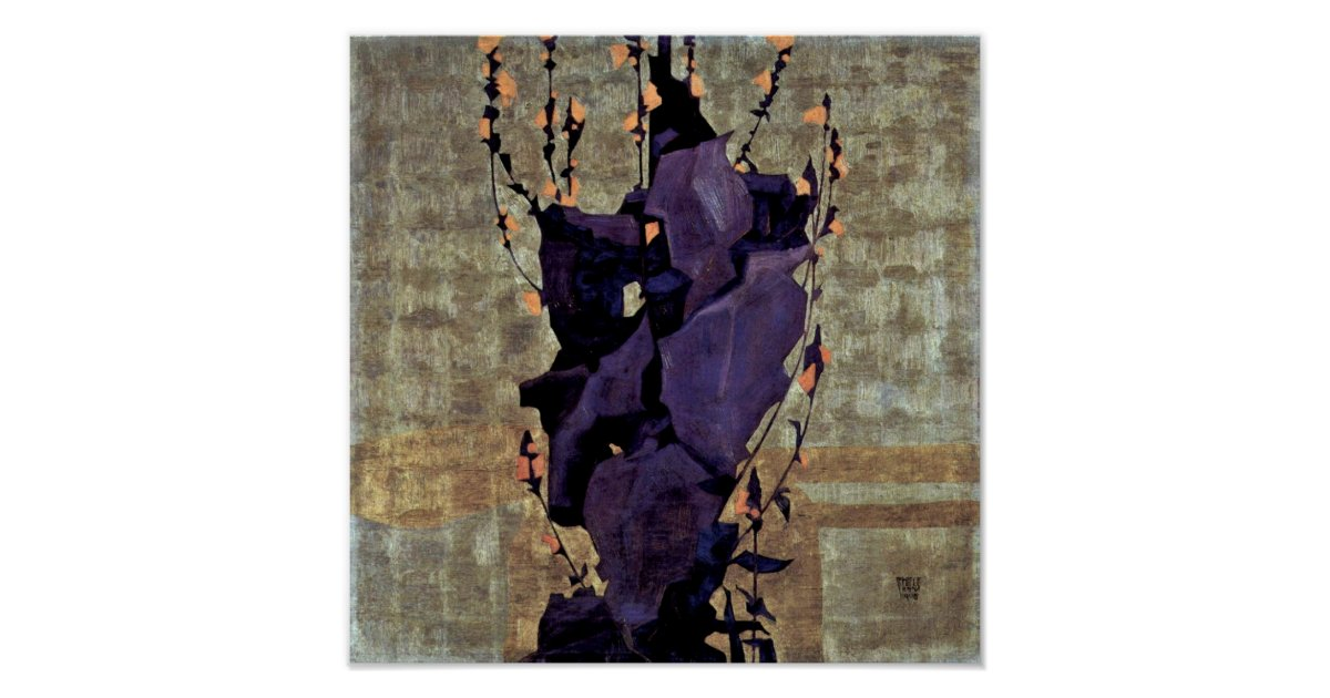Egon Schiele - Stylised flowers still life Poster | Zazzle ...