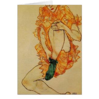 Egon Schiele- The Green Stocking Card