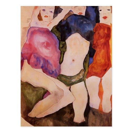 Egon Schiele- Three Girls Postcards