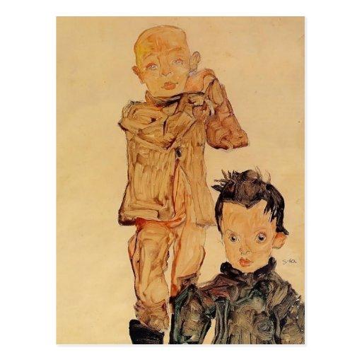 Egon Schiele- Two Boys Postcards