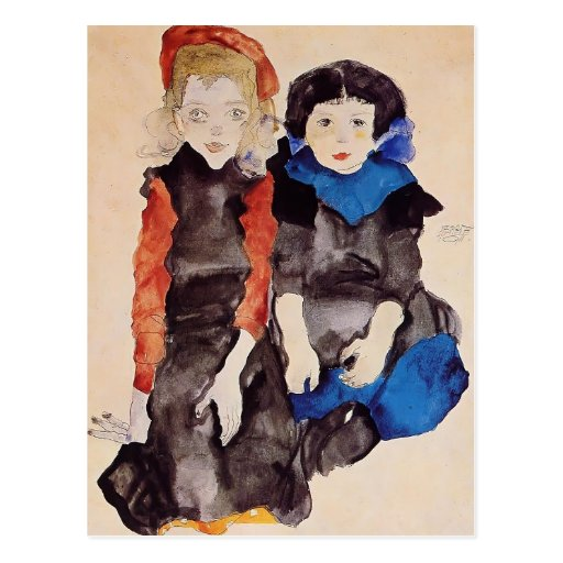 Egon Schiele- Two Little Girls Postcards