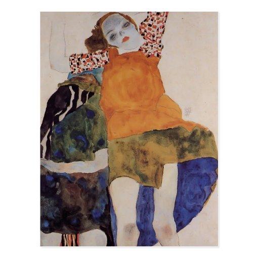 Egon Schiele- Two Seated Girls Postcard