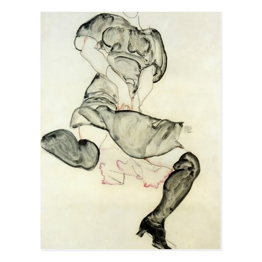 Egon Schiele- Woman with Black Stockings Post Cards