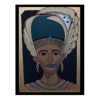 EGPTIAN QUEEN ON WOOD POSTCARD