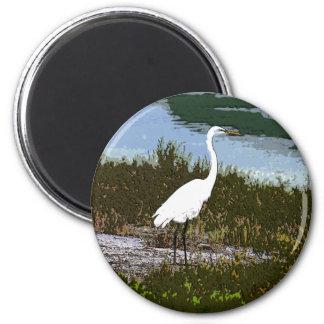 Egret 6 Cm Round Magnet