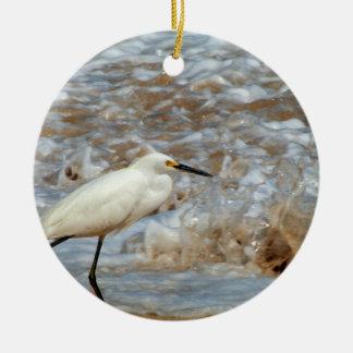 Egret and Wave Splash Christmas Ornament