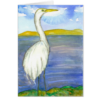 Egret Bird Watercolor Thinking Of You Card