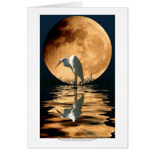 EGRET & GOLDEN MOON ~ Greeting-cards & Note