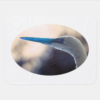 egret head colorized blue tint bird animal image receiving blankets