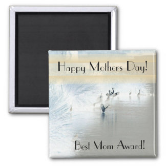 Egret Heron Bird Wildlife Animal Mothers Day Square Magnet