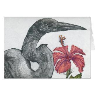 Egret & Hibiscus Card