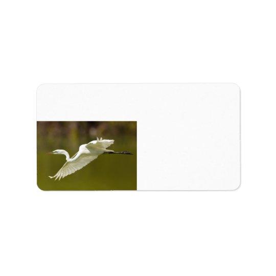 egret in flight address label