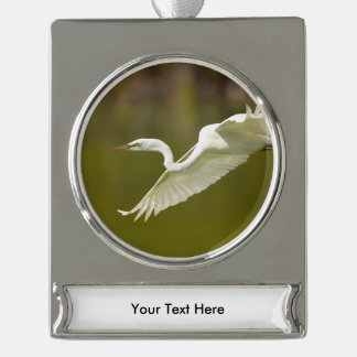 egret in flight silver plated banner ornament