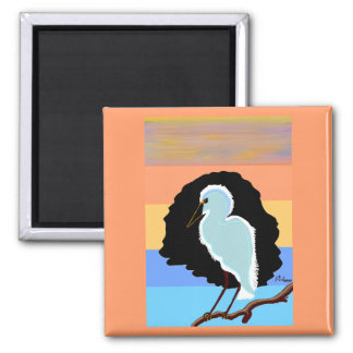 Egret Square Magnet