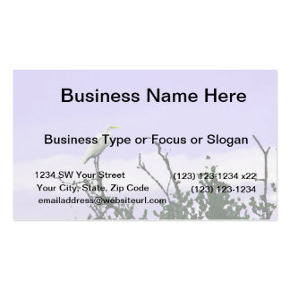 egret on tree painting purple business cards