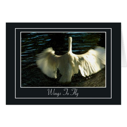 Egret Spreading Wings on Water Card